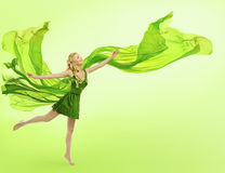 Woman in Green Dress, Blowing Cloth, Young Girl Silk Fabric Stock Photo