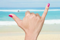 Woman hand in shaka gesture Royalty Free Stock Image