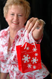 Woman holding Christmas bag Royalty Free Stock Images