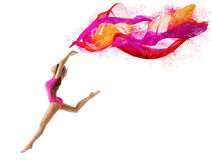 Woman Jump Sport, Girl Dancer, Gymnast Fly Pink Cloth Royalty Free Stock Photo