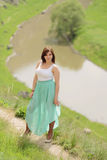 Woman in Long Skirt Royalty Free Stock Photography