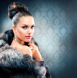 Woman in Luxury Fur Coat Royalty Free Stock Photos