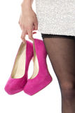 Woman Partying Carrying High Heels Royalty Free Stock Images