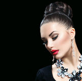 Woman with perfect makeup and luxury accessories Stock Images