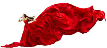 Woman Red Dress, Flying Fabric Silk Cloth Waving Fluttering on Wind Stock Images