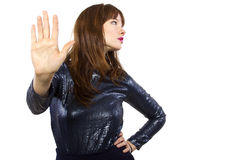 Woman Saying No with Hand Gesture Stock Photo