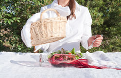 Woman spilling wine Royalty Free Stock Photos