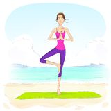 Woman standing in yoga lotus position closed eyes Stock Images