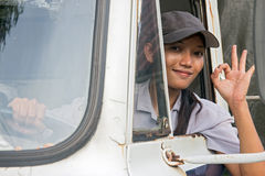 Woman truck driver Stock Photo