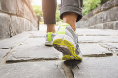 Woman Walking on trail, Outdoor exercise Stock Photo