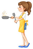 Woman wearing apron cooking Royalty Free Stock Images