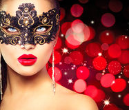 Woman wearing carnival mask Royalty Free Stock Photography