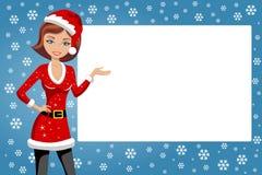 Woman Xmas Santa Presenting Billboard Royalty Free Stock Photography