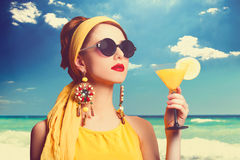 Women with cocktail Stock Images