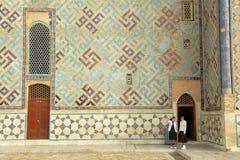 Women explore mausoleum of Khoja Ahmed Yasavi in Turkistan, Kazakhstan. Royalty Free Stock Photos