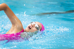 Women is swimming in the pool Stock Photos