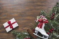 Wood background with seasonal Christmas themed border Stock Images