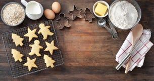 Wood Christmas Cookies Baking Banner Stock Image
