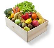 Wood Box Food Fruit Vegetables Stock Image