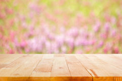 Wood table top on blur flower garden background Stock Photography