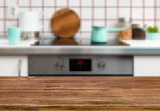 Wood texture table on kitchen stove bench background Royalty Free Stock Images