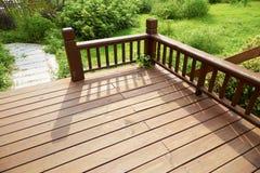 House wooden deck wood outdoor backyard patio in garden Stock Photography