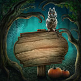 Wooden sign in the halloween forest Stock Photos