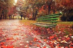 Wooden sofa in a fantasy autumn season Stock Photo