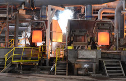 Working in a foundry, Pirdop, Bulgaria,, Nov, 5, 2015 Royalty Free Stock Photo