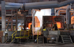 Working in a foundry, Pirdop, Bulgaria,, Nov, 5, 2015 Royalty Free Stock Photos