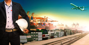 Working man and ship,trains ,plane ,freight cargo logistic and i Stock Image
