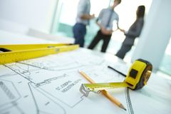 Workplace of architect Royalty Free Stock Photography