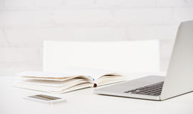 Workplace business. notebook, laptop, pc, mobile phone, pen Royalty Free Stock Image