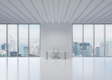 A workplace in a modern panoramic office in New York City. Stock Photography