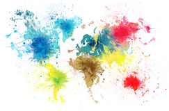World map with paint splashes Royalty Free Stock Photography