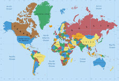 World map political detailed Royalty Free Stock Photography