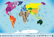 Wysokość wyszczególniająca mapa świat Zdjęcie Stock