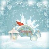 Xmas Bird Lantern Christmas Balls Background Royalty Free Stock Images