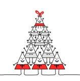 Xmas triangle family Royalty Free Stock Image