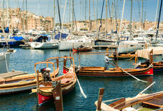 Yachts and boats near Valletta pot in Malta Stock Photography