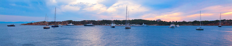 Yachts in a Greek bay Royalty Free Stock Photo