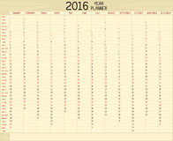 Year 2016 Planner Stock Photography
