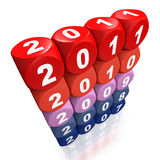 Years passing  by from 2007 to 2011 Royalty Free Stock Photos