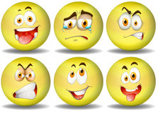 Yellow ball expressions emoticons Royalty Free Stock Image