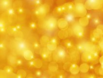 Yellow Bokeh and Stars Background Royalty Free Stock Photo