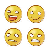 Yellow faces with emotions Stock Photography