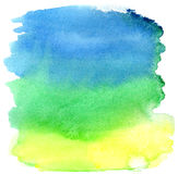 Yellow, green and blue watercolor brush strokes Royalty Free Stock Image