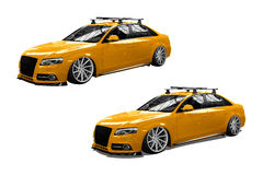 Yellow isolated modern car Stock Photography