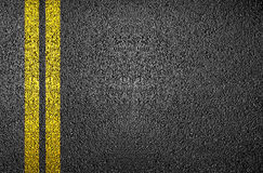 Yellow line on asphalt Royalty Free Stock Photo