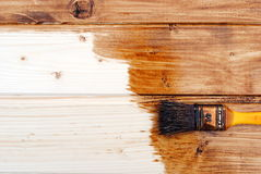 Yellow paint varnish wooden matchboards Royalty Free Stock Image
